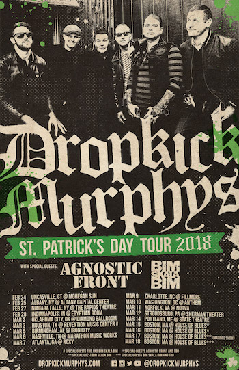 Dropkick Murphys St. Patrick's Day Tour 2018 admat with band photo and tour dates