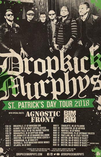 Dropkick Murphys St. Patrick's Day Tour 2018 admat with band photo and tour dates