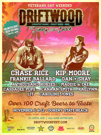 Driftwood at Doheny State Beach flyer with music lineup and venue details