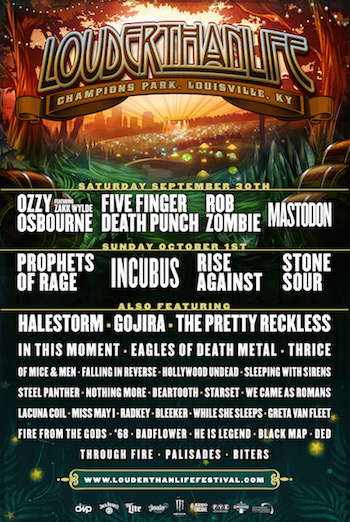 Louder Than Life 2017 flyer with band lineup and venue details