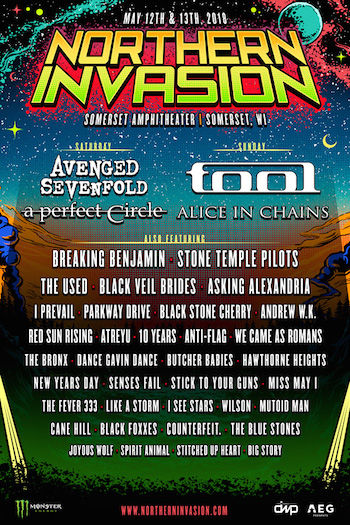 Northern Invasion flyer with band lineup & venue details