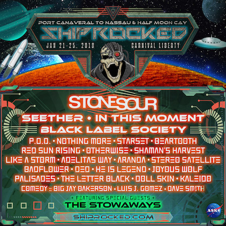 ShipRocked flyer with band lineup and cruise details