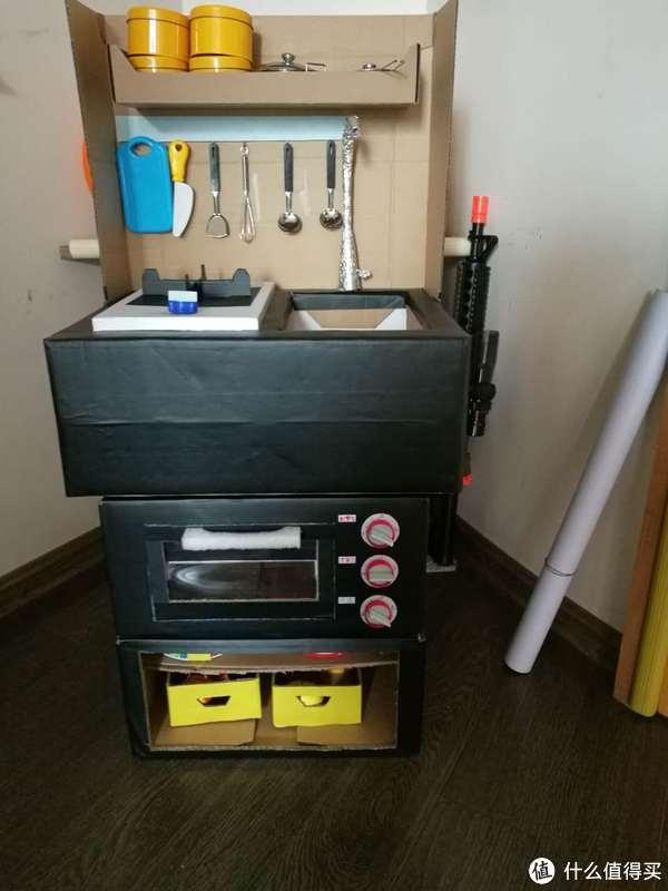 childrens kitchens replacement doors for kitchen cabinets 一切为了娃的 过家家 废纸箱diy 儿童厨房组合 什么值得买 整体外观样式