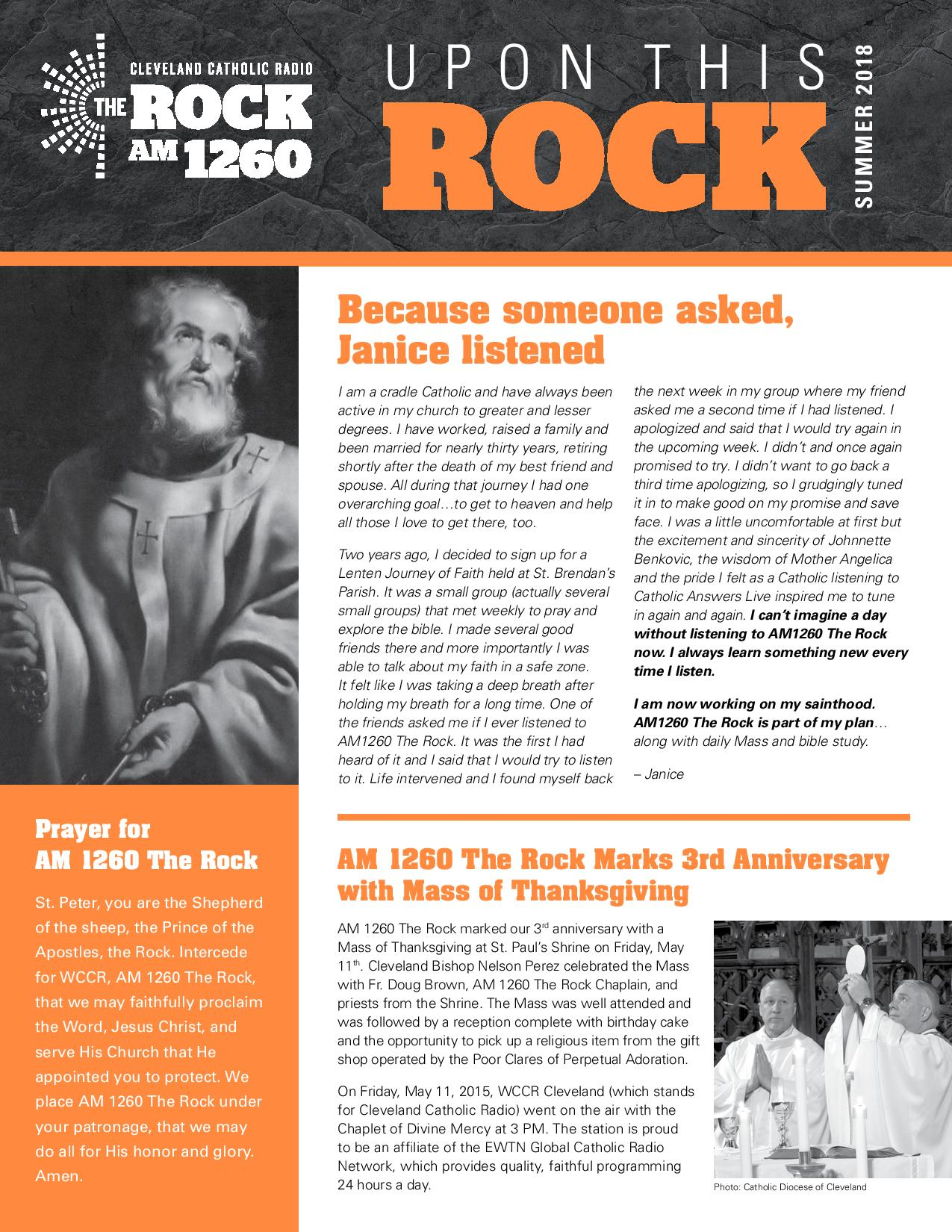 """AM 1260 The Rock Premieres """"Upon This Rock"""" Newsletter"""