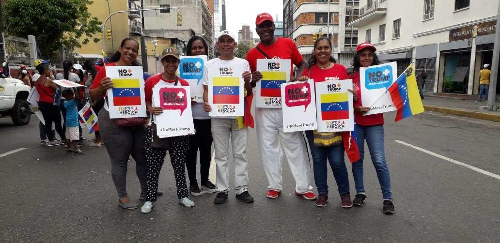 Venezolanos marchan en rechazo a las sanciones comerciales de Estados Unidos