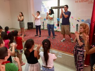 Artashat team leads the children in the closing program for the day (12 Aug. 2018)