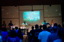 The meeting hall filled not just with Armenian Evangelical youth, but with the praises of God as the band leads worship (6 Aug. 2018)