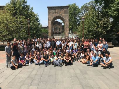 In the courtyard of the Mother See of Holy Etchmiadzin (6 Aug. 2018)