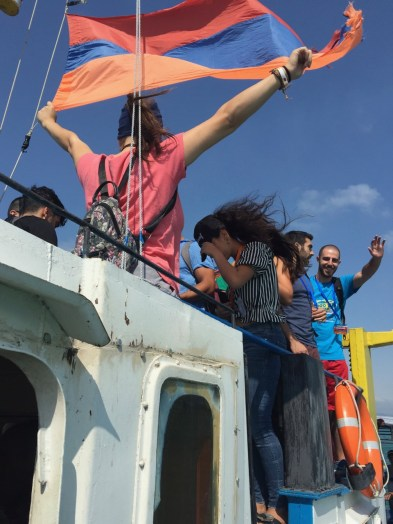 The entire group boarded four boats for a ride on Lake Sevan (7 Aug. 2018)