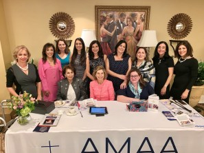 Michele Simourian surrounded by Boston area Orphan and Child Committee members and AMAA representatives.