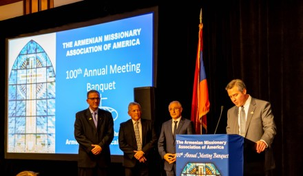 AMAA Vice President Dr. Michael Voskian paid tribute to the history of the Armenian Evangelical Church: Pictures L to R Rev. Dr. Avedis Boynerian, Rev. Joël Mikaélian, Rev. Stephen Carlyle and Dr. Michael Voskian