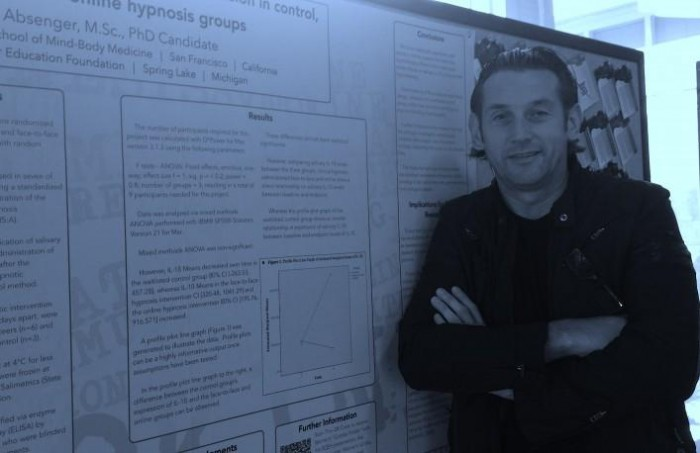 Image of Werner Absenger with his SCEH Scientific Poster on cytokines and hypnosis