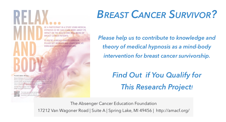 Breast Cancer Survivor? Want to Relax Mind and Body? Consider becoming a participant in a West Michigan Breast Cancer Survivorship Research Project