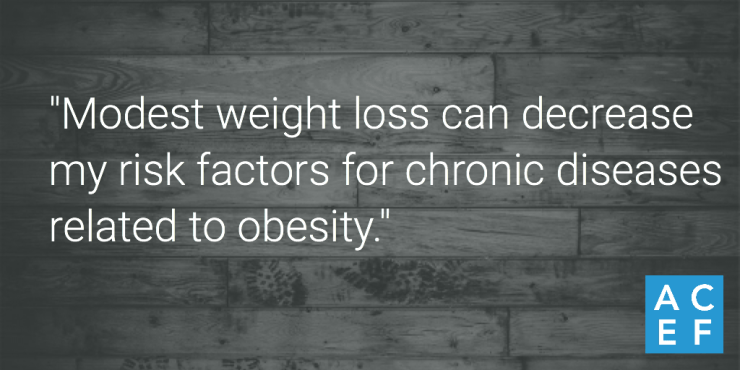 """""""Modest weight loss can decrease my risk factors for chronic diseases related to obesity. Yes, I can achieve modest weight loss."""""""