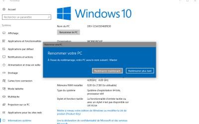 Comment changer le nom d'un PC sous Windows 10
