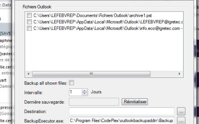 Faire des backups automatiques d'Outlook