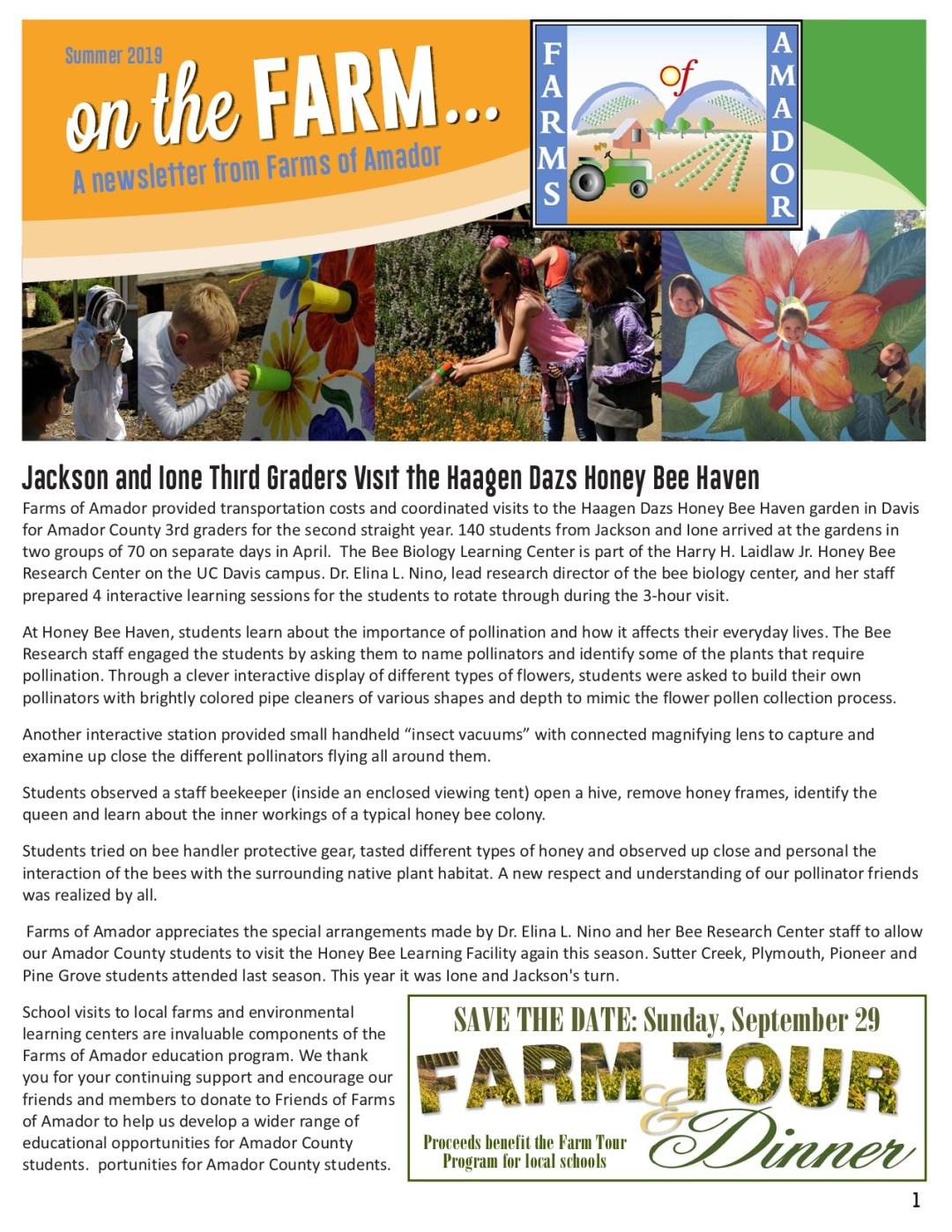 Summer 2019 newsletter pg 1