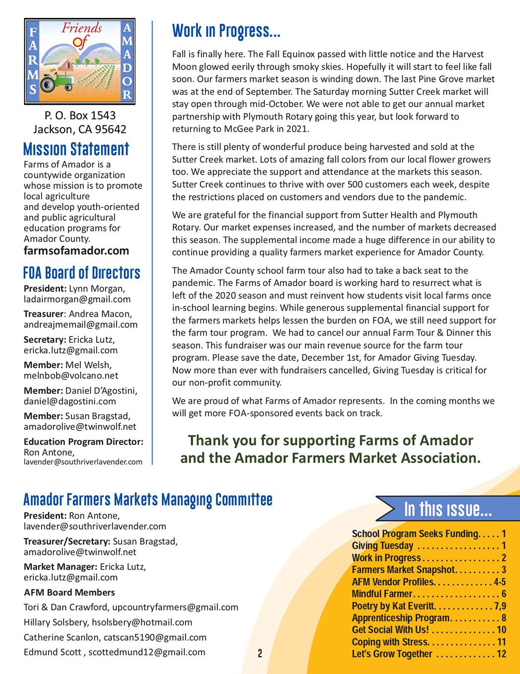 FOA Oct Newsletter pg 2