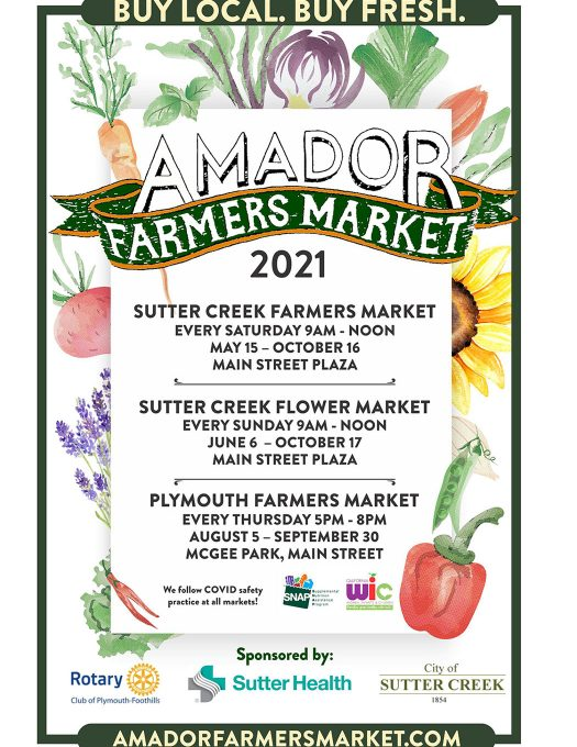 Amador Farmers Market 2021 schedule