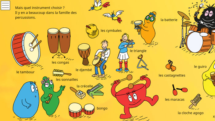 instruments de musique application barbapapa