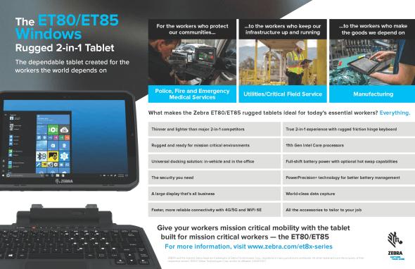 The ET80/ET85 Windows Rugged 2-in-1 Tablet