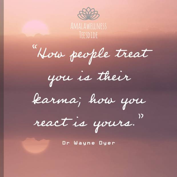 How people treat you is their karma, how you react is yours. - Dr Wayne Dyer