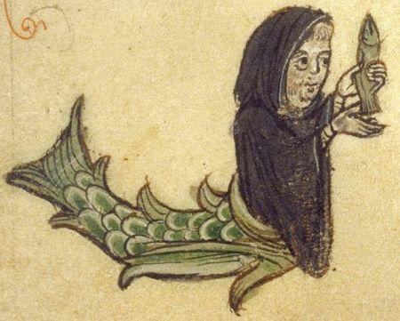 Merman dressed as monk holds fish