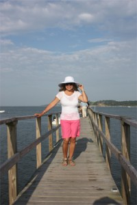 Amalia on a pier in New England