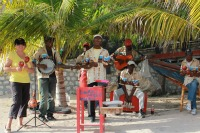 A band playing music in Haiti
