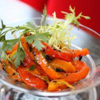 amalia guatemelan llc: ensalada de chiles pimientos, charred bell peppers