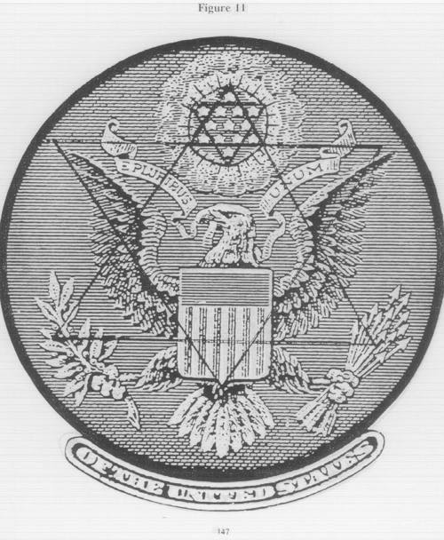 front of great seal on one dollar bill