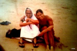 My mother and me at Puri sea beach