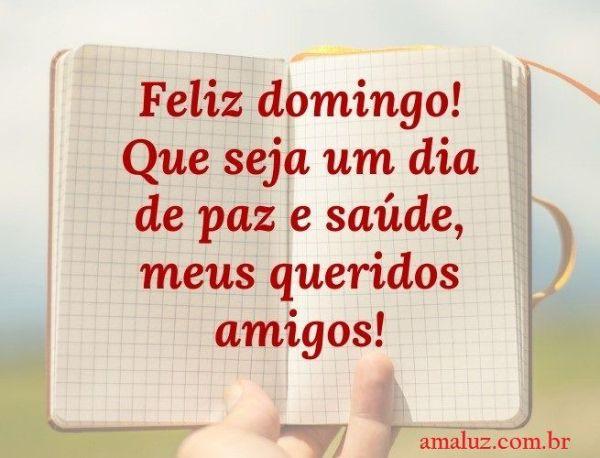 Feliz domingo! Bom dia que seja feliz com paz e saúde meus amigos queridos.