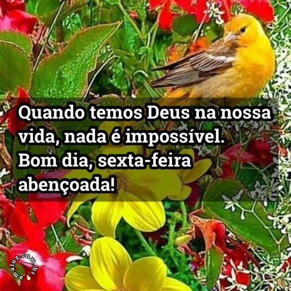 Quando temos Deus na nossa vida, nada impossível. Bom dia!