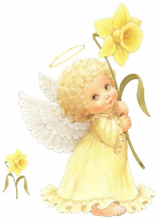 anjinho amarelo segurando gira-sol