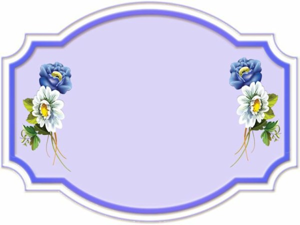 estilo de moldura com flores roxas e brancas