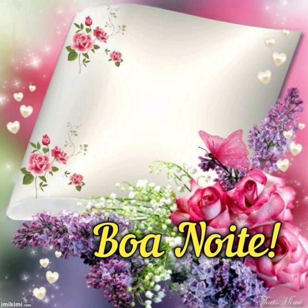 imagem bem colorida de flores e mensagem de boa noite
