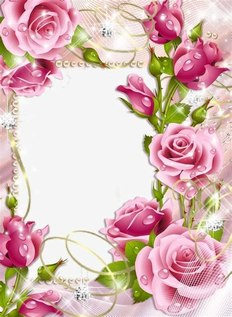 moldura linda rodeanda de flores  rosas