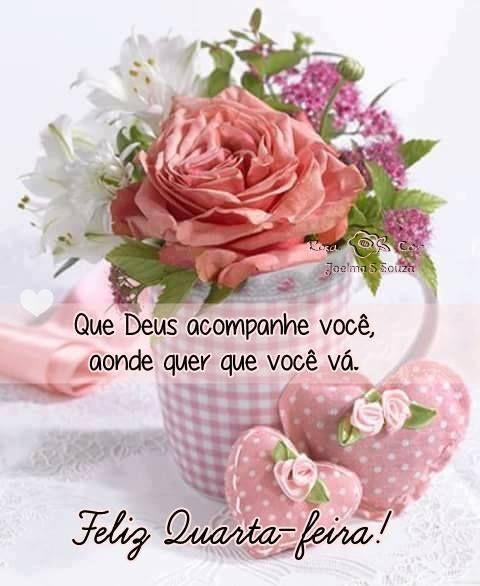Bom dia feliz quarta feira! flores vesso e corações bonitos