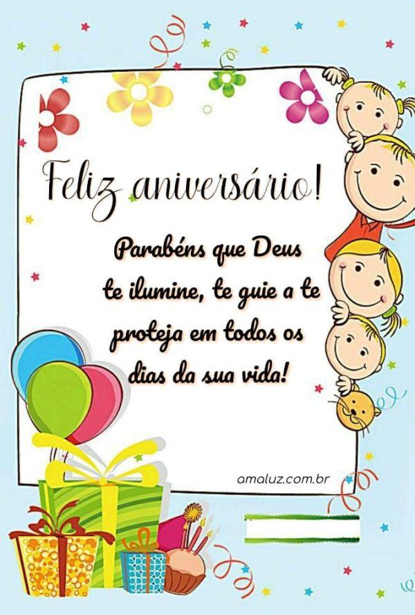 feliz aniversario, meus parabéns que Deus te ilumine