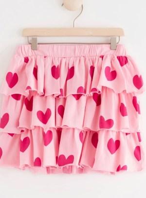 Pink heart ruffled skirt