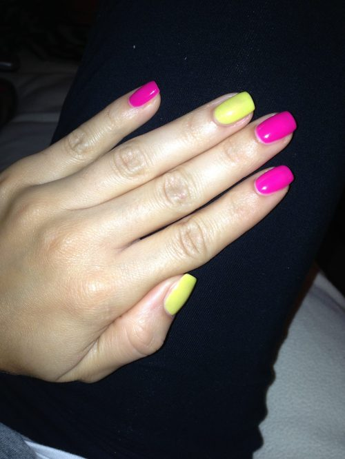 "First up - my vaca mani! Gelish ""Carnival Hangover"" with the yellow accent ""Don't Be Such a Sourpuss"""