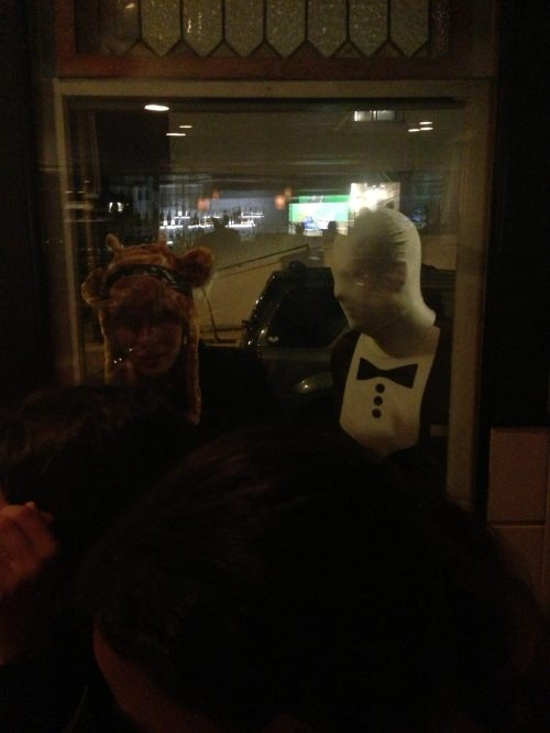 Out to dinner & these clowns popped up in the window & scared the beejeezies out of us!