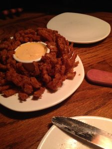 Quick break in costuming to grab some dinner. Bloomin onion FTW.