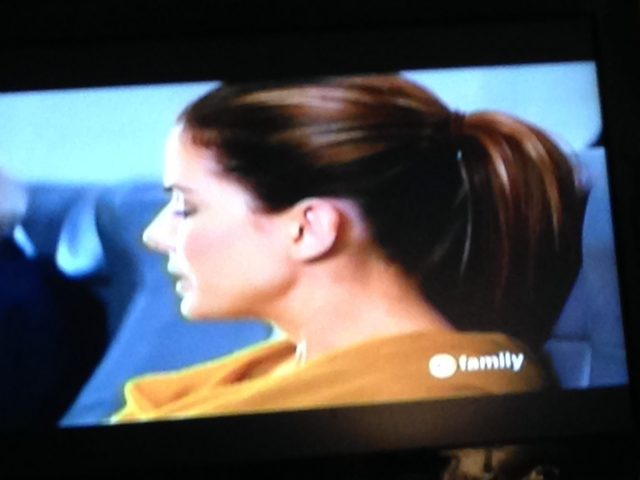 I went home and watched The Proposal [for the millionth time] and was just in awe of how thick & gorgeous Sandra Bullocks ponytail was. Weird, but I was honestly mesmerized. Enough to take a picture of the TV lol. #Gimmie