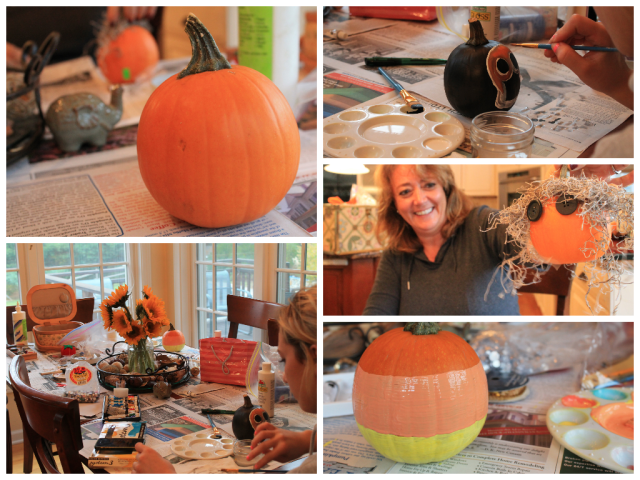 Our girls pumpkin painting party!