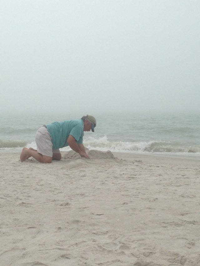 A cloudy day - my Mom requested my dad build her something in the sand. He happily obliged! haha