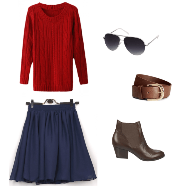 Sweater // Skirt // Sunglasses // Belt // Booties