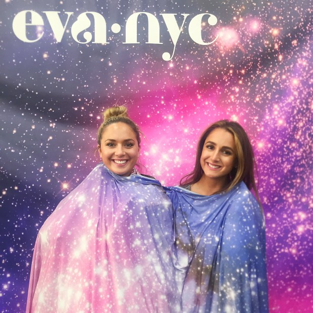 Checked out some goodies at the Eva NYC booth... and then hopped in front of their floating head booth?! We were laughing so hard
