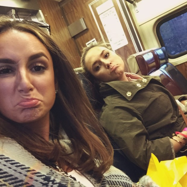 Sleepy girls on the train...almost home!